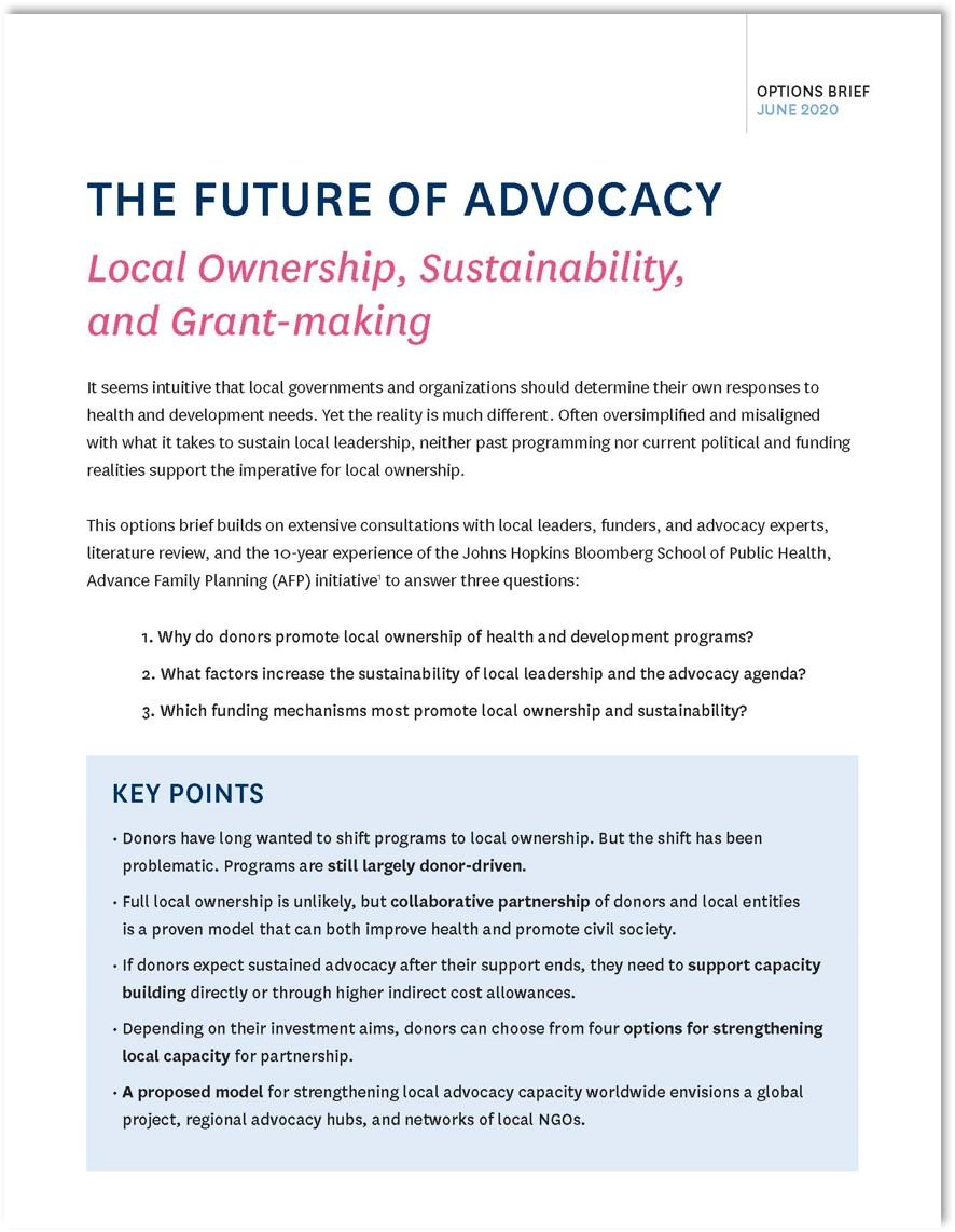 Future of Advocacy options brief cover photo